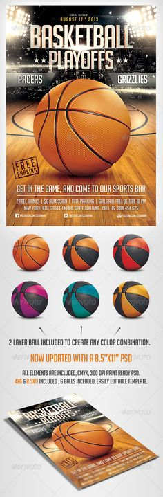 BasketBall Game Flyer Template by saltshaker911 Please dont forget to Ratea Hyper realistic flyer template for your Basketball event.. a layered Ball is included so you can ch