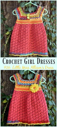 Little Miss Allison's Dress Crochet Free Pattern - Girl Free Patterns Girl Dress Free Crochet Patterns: Crochet Baby Dress, Summer Dress, Little Girl's Dress, easy dress and jumper for baby girl and little girls Crochet Girls Dress Pattern, Crochet Toddler Dress, Crochet Jumper, Crochet Summer Dresses, Summer Dress Patterns, Black Crochet Dress, Baby Girl Crochet, Crochet Baby Clothes, Crochet For Kids