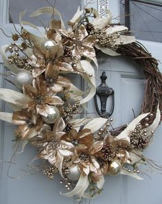 Winter Wreath Poinsettia Wreath Magnolia by SilvaLiningDesigns