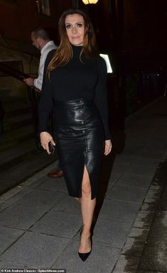 Coronation Street star Kym Marsh cuts a stylish figure in leather midi skirt Black Leather Pencil Skirt, Leather Midi Skirt, Kym Marsh, British Celebrities, Cute Dress Outfits, Sexy Legs And Heels, Coronation Street, Sexy Older Women, Beautiful Actresses