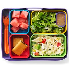 Watermelon, salad, bow-tie pasta and fig cookies. Perfect healthy school lunch