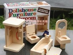 Free Shipping Bathroom Furniture  Miniature Wooden Dollhouse Furniture Sets Toys for Children  Girls' Christmas gift