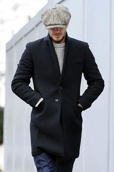 david beckham wears a newsboy cap