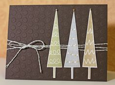 Christmas card-use snowflake embossing plat, crticut trees and string different colour scheme but could be easy and look lovely.