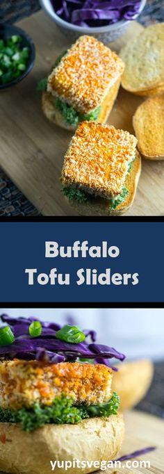 Buffalo Tofu Sliders   crispy breaded buffalo tofu piled onto fluffy slider buns with crunchy cabbage and tahini ranch. Recipe by Yup, it's Vegan.