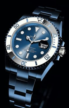 Watch What If - Rolex Submariner - Blue Anodized with White . - Watch What If – Rolex Submariner – Blue Anodized with Whit… Dream Watches, Luxury Watches, Cool Watches, Rolex Watches, Watches For Men, Men's Rolex, Gold Rolex, Wrist Watches, Diamond Rolex