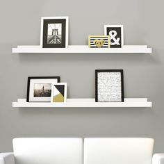 Edge Pack of 2- 44x4 Inch Picture Frame Ledge- White