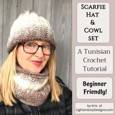 "Free Crochet Hat & Cowl Pattern Video Tutorial - ""Scarfie Hat & CYou can find Crochet patterns and more on our website. Tunisian Crochet, Free Crochet, Crochet Hats, Crochet Designs, Scarf Patterns, Scarfie Yarn, Easy Crochet Projects, Learn A New Skill"