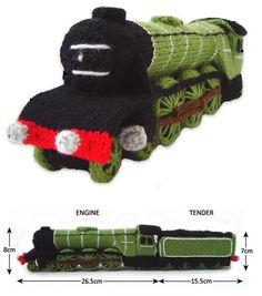 Free knitting pattern for miniature train toy