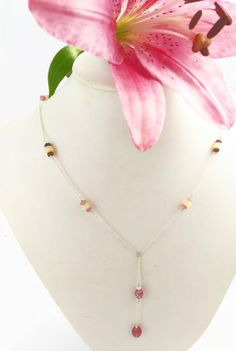 Y Long Necklace Sterling Silver Chain with Pink Tourmaline and Ethiopian Opal