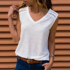 Summer Female blouse Women's Sexy Lace Stitching Solid V-Neck Sleeveless Vest white Shirt Blouse female tunic shirt blusas Matching Family Outfits, Looks Style, Casual T Shirts, Latest Fashion For Women, Fashion Women, Shirt Blouses, Lace Shirts, Tunic Shirt, Ideias Fashion