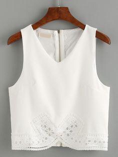 V-Neck Zip Back Lace Trimmed Tank Top - White