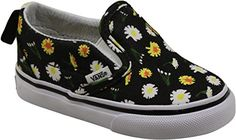 Vans Slip-On V Little Girls (Daisy) Black/True White Girls 9.5 - Amazing Shoes Sale Price: $33.99