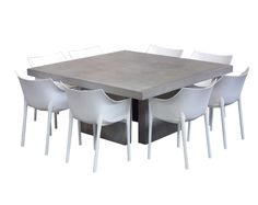 For an eclectic look, try pairing our square modern concrete Table with 8 polyethylene resin outdoor chairs.These chairs are stackable for easy storage and are available in light grey or white. Great for outdoors or inside. Discover your favorite patio furniture statement piece at teakwarehouse.com or at one of our Los Angeles, Monrovia, or San Diego showrooms!