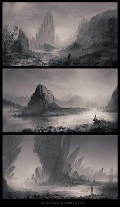 Three (very) rough speedpaintings. I don't get to do much these days (important exams coming up), so these were a nice change from studying. Landscape Concept, Fantasy Landscape, Landscape Art, Environment Concept, Environment Design, Fantasy Concept Art, Fantasy Art, Bg Design, Composition Art