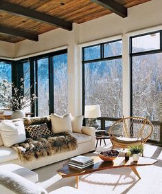 Mountain Home Interior Design Currently Working On A Mountain Home And Using This As Major Best Pictures Living Room Decor, Living Spaces, Living Rooms, Living Area, Aspen House, Modern Mountain Home, Mountain High, Mountain Home Interiors, Modern Lodge