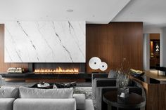 Living room and fireplace by Madeleine Design Group in Vancouver, Canada. *Re-pin to your inspiration board* Inspiration Boards, This Is Us, Ocean, Vancouver, Group, Photo And Video, Living Room, Interior Design, Table