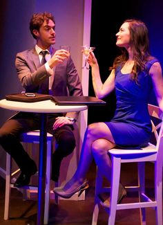 Jason Dechert and Jules Willcox in A OR B? at the Falcon Theatre - photo by Jill Mamey.