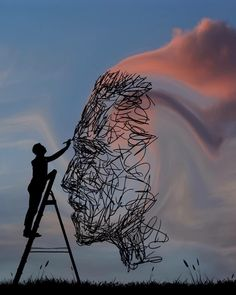 Paintings the Sky. Beautifully Manipulated Pictures at Sunrise. To see more art and information about Dominic Liam click the image. Street Art, Shadow Art, Photoshop, Beautiful Mind, Travel Pictures, Pop Art, Sunrise, Poster, Images