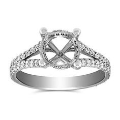 Precision Set 18K White Gold Split Shank Diamond Ring Setting  2FSSW3889