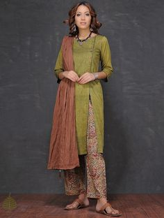 Buy Olive Boat Neck Mangalgiri Cotton Kurta by Jaypore Online at Jaypore.com