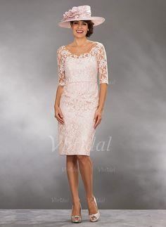 Etui-Linie U-Ausschnitt Knielang Spitze Satin Spitze Reißverschluss Mit Ärmeln 1/2 Ärmel Ja Elfenbein Pearl Pink Frühling Sommer Herbst Übliche Kleid für die Brautmutter