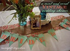 Vintage Coral + Mint Wedding Shower! (Full of DIY ideas!)