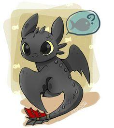 Toothless, chibi, cute, fish, How to Train Your Dragon; Kawaii
