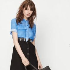 Maje black button front skirt SZ xs Cotton black button up skirt Maje Skirts Mini
