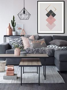 Gray and Pink Living Room Idea. Gray and Pink Living Room Idea. How to Add Gray to Your Home Décor Living Room Color Schemes, Living Room Colors, Living Room Grey, Living Room Sofa, Living Room Designs, Blush Pink Living Room, Pink Room, Cozy Living, Small Apartment Living