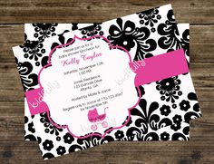 Black and White Damask Baby Shower Invitation with Hot Pink Carriage. $12.00, via Etsy.