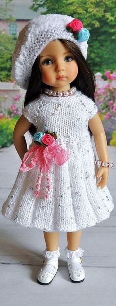 Knitting Dolls Clothes, Crochet Doll Clothes, Knitted Dolls, Girl Doll Clothes, Crochet Dolls, Girl Dolls, Baby Dolls, Dress Clothes, Pretty Dolls