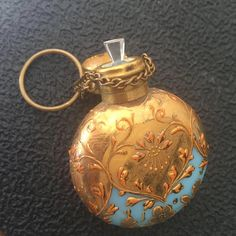 Antique Century Blue Opaline Gilt Scent Perfume Bottle by cristina Antique Perfume Bottles, Vintage Bottles, Potion Bottle, Bottle Vase, Beautiful Perfume, Opaline, Antiques, 19th Century, Glass