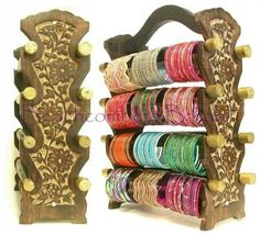 Tall 8 bar bangle display stand made of wood is perfect for large bracelet collections.