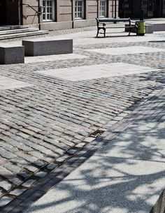 Granite benches and bike lane in Vartov Square, Copenhagen by Hall McKnight. Click image for details and visit the slowottawa.ca boards >> http://www.pinterest.com/slowottawa/