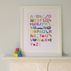 Personalised Alphabet Nursery Print - Illustrated Baby ABC - Modern Children's Educational Art Poster in A4, A3, 8 x 10 & 11 x 14 Prints