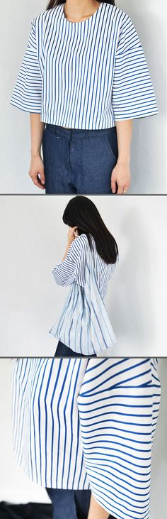 3/4 Flared Sleeve Striped Crop Top