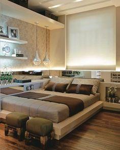 Decor: Cama de casal encostada na parede! Design Your Own Home, Home Decor Bedroom, Home N Decor, Home, Home Bedroom, Apartment Decor, Modern Bedroom, Luxury House Designs, Interior Design Bedroom