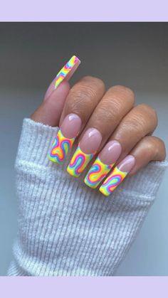 Bling Acrylic Nails, Summer Acrylic Nails, Best Acrylic Nails, Summer Nails, Nail Design Stiletto, Nail Design Glitter, Neon Nail Designs, Hippie Nails, Long Square Acrylic Nails