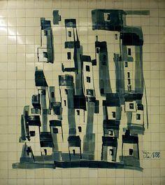 "Lisboa - metro station ""Cidade Universitária"" Tile Panels, Portuguese Tiles, Metro Station, 15th Century, Pavement, Public Transport, Installation Art, Street Art, Photography"