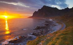 size: Photographic Print: Mightnight Sun over Dramatic Coastal Landscape, Vikten, Flakstadsoya, Lofoten, Norway by Doug Pearson : Beautiful Roads, World's Most Beautiful, Beautiful Sunset, Beautiful Places, Beautiful Pictures, Atlantic Road Norway, Visit Norway, Norway Travel, Best Sunset