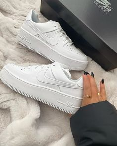 Buy Nike White Air Force 1 Sage Low Trainers at ASOS. White Nike Shoes, White Nikes, White Sneakers, Shoes Sneakers, Nike Air White, Sneakers Fashion, Fashion Shoes, Nike Fashion, Fashion Women