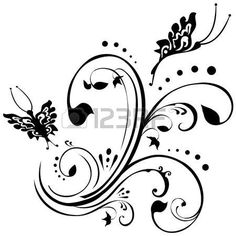 tattoo designs: Butterflies fluttering around foliage. Floral design in black on a white background. Ivy Tattoo, Vine Tattoos, Leaf Tattoos, Tatoos, Butterfly With Flowers Tattoo, Butterfly Quilt, Butterflies, Hourglass Tattoo, Free Tattoo Designs