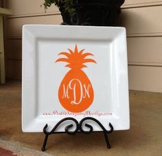 Monogrammed Pineapple Vinyl Decal