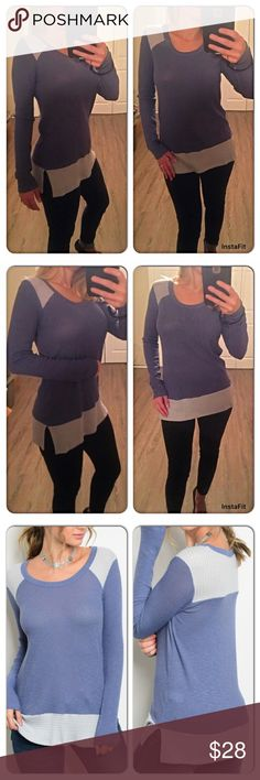 Long Sleeve Round Neck Color Block Indigo Grey top Cute & Casual long sleeve indigo grey/blue top. Really pretty & comfy. Light sweater like material. 49%rayon, 46%polyester 5%spandex. Covers the butt to be a tunic also. Can wear with leggings or jeans ! Tops Tunics