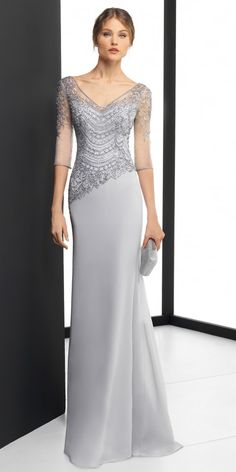 DressilyMe Bridal Dresses Online,Wedding Dresses Ball Gown, delicate chiffon v neck neckline 3 4 length sleeves sheath column evening dress with beaded embroidery Mother Of The Bride Gown, Mother Of Groom Dresses, Mothers Dresses, Long Mothers Dress, Bridesmaid Dresses, Prom Dresses, Wedding Dresses, Gown Wedding, Long Dresses