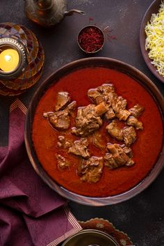 Traditional Awadhi Mutton Korma or lamb korma in wooden bowl with saffron rice on the side. Lamb Recipes, Curry Recipes, Indian Food Recipes, Cooking Recipes, Lamb Korma, Mutton Korma, Cubes, Hot Girls, Slow Cooked Lamb