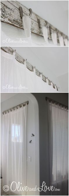 >> CURTAINS :: Cling curtains the brand new approach! Scrap wooden from an previous bench, low cost hooks...