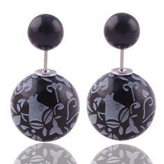 8 Colors Brand New Printing Pattern Double Sides Big Pearl Stud Earrings Classic Graffiti Bead Ball Ear Stud Earrings For Women