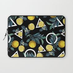 Check out society6curated.com for more! I am a part of the society6 curators program and each purchase through these links will help out myself and other artists. Thanks for looking! @society6 #floral #flowers #pattern #laptop #computer #case #sleeve #electronic #accessory #accessories #fashion #style #student #college #gift #idea #fun #unique #art #artsy #design #cool #awesome #botanical #buyart #artforsale #geometric #geometricart #lemon #fruit #triangles #circles #shapes #black #yellow…